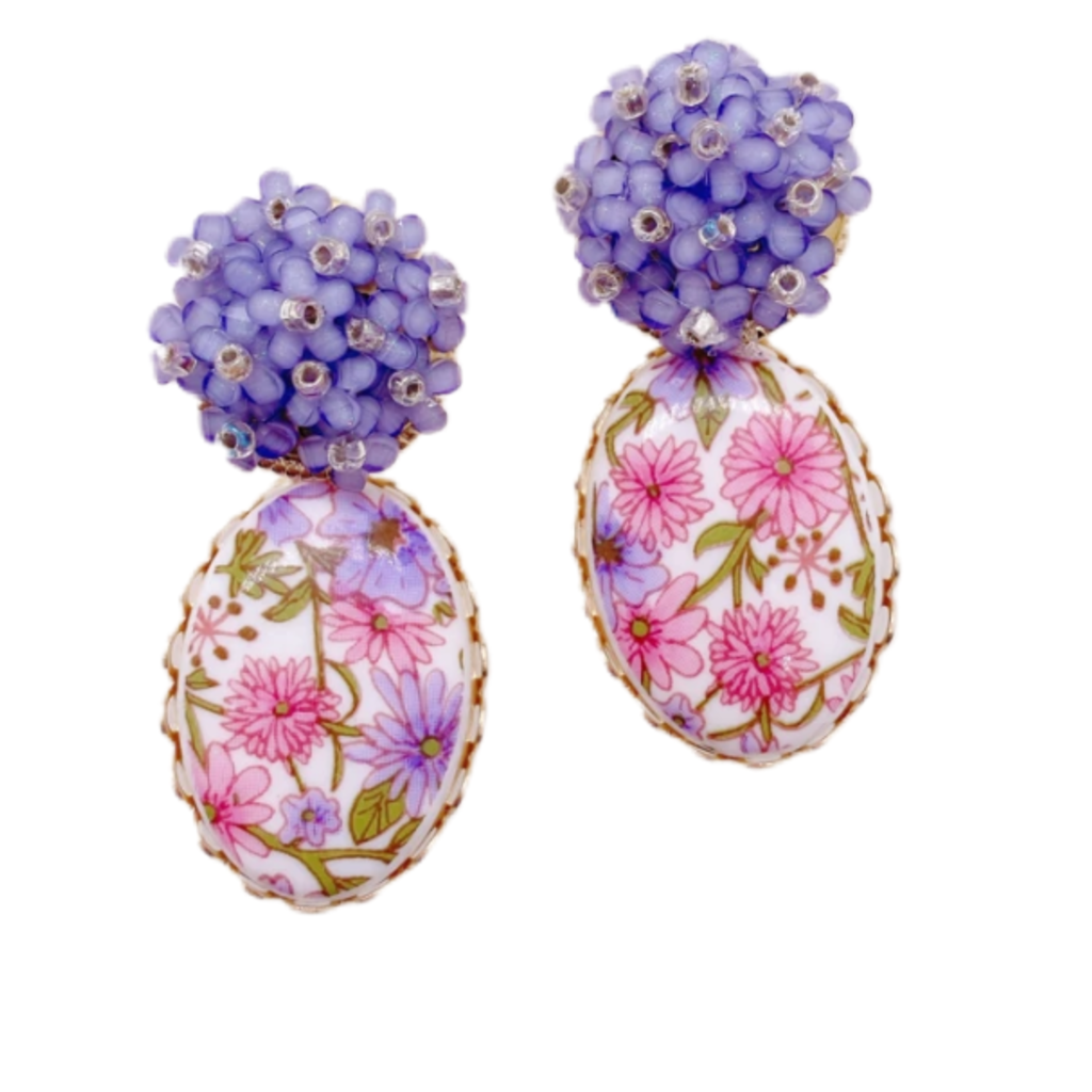 Charlotte Cameo Floral Dangles - Purple