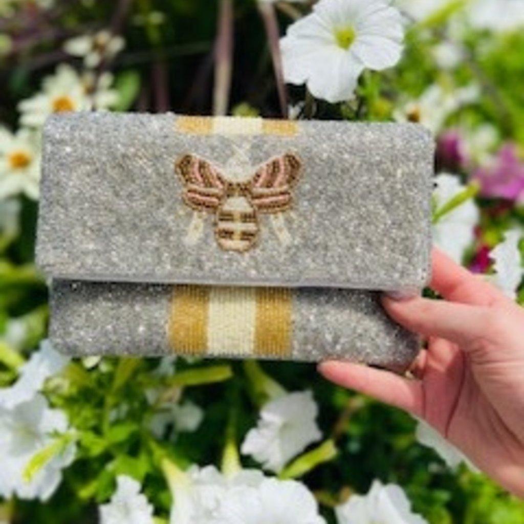Mini 2 tone silver bee bag
