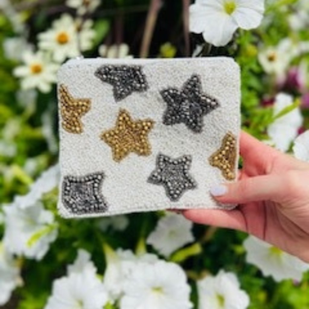 LAC-CP-1037 Star Beaded pouch