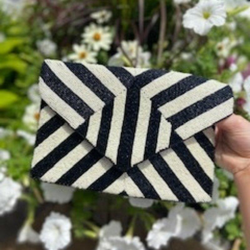 Geometric BK/WHT Stripe Bag