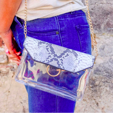Tailgate Clear Crossbody - Snake Light Taupe