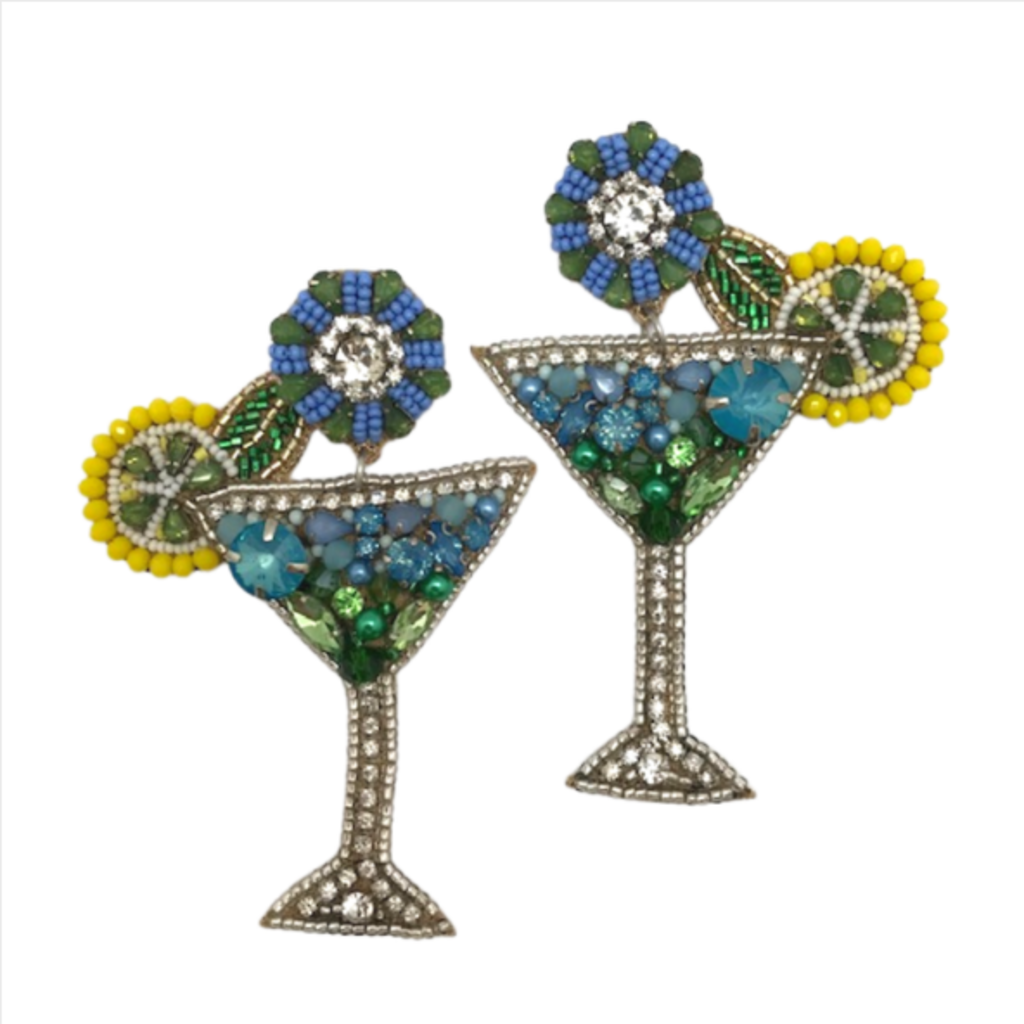 Blue Lemonade Martini Earrings