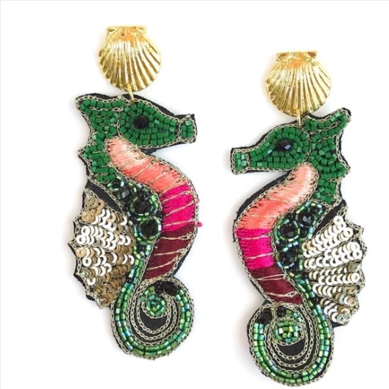 Green Seahorse Earring