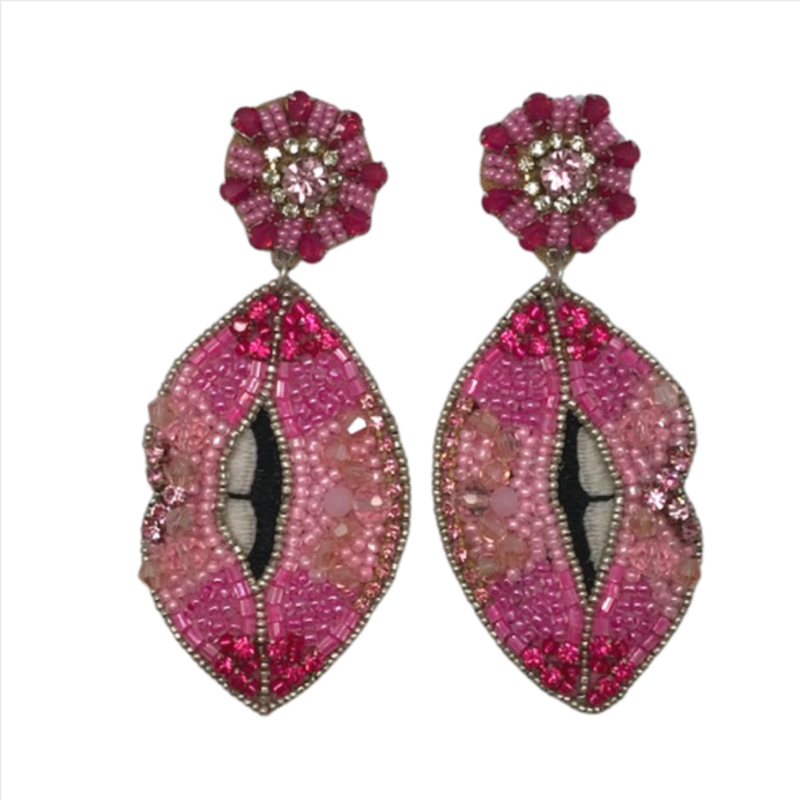 Pink Jeweled Lip Earrings