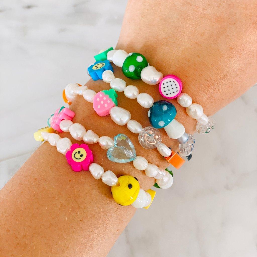 Rainbow charm pearl bracelet