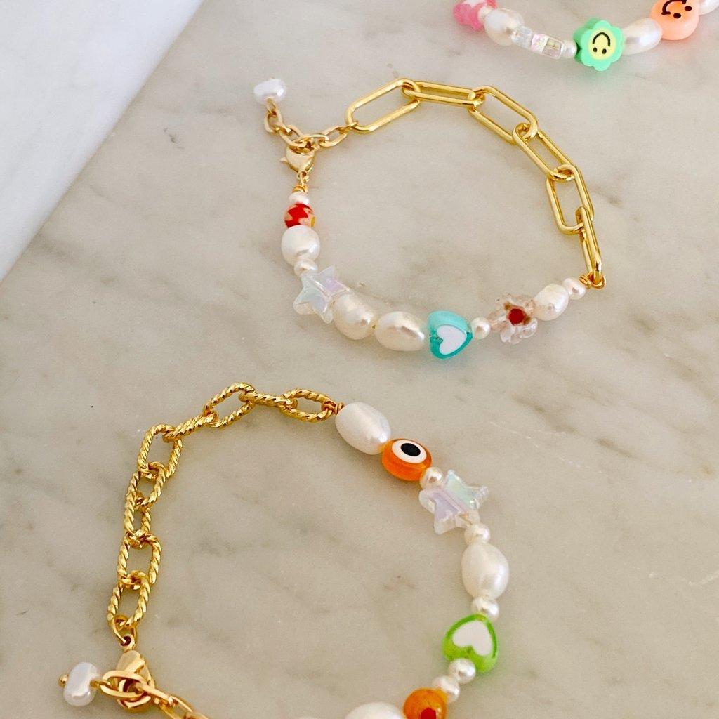 Half chain charm bracelet - double
