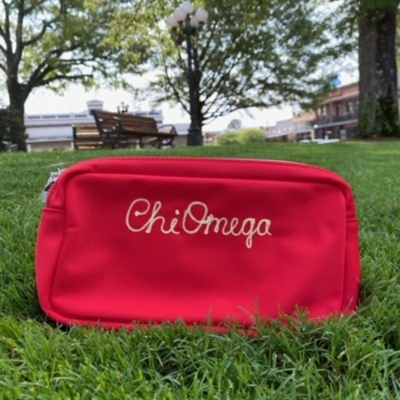 Chi O Embroidered makeup bag