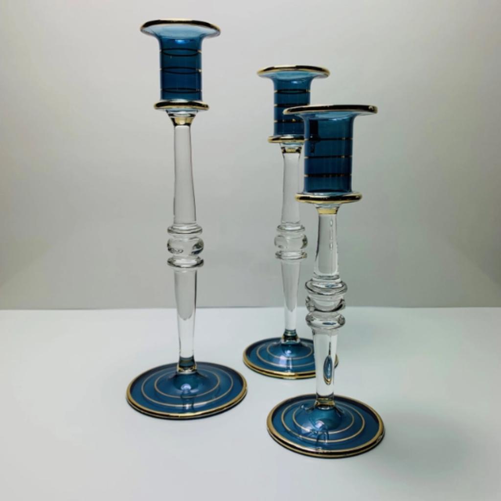 Glass Candle Holder blue - medium