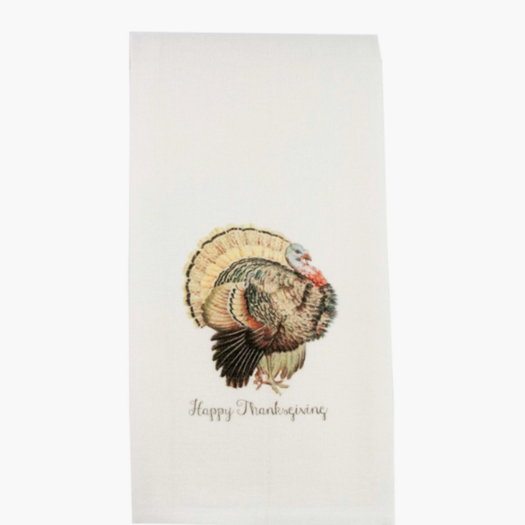 Turkey with Happy Thanksgiving Dishtowel
