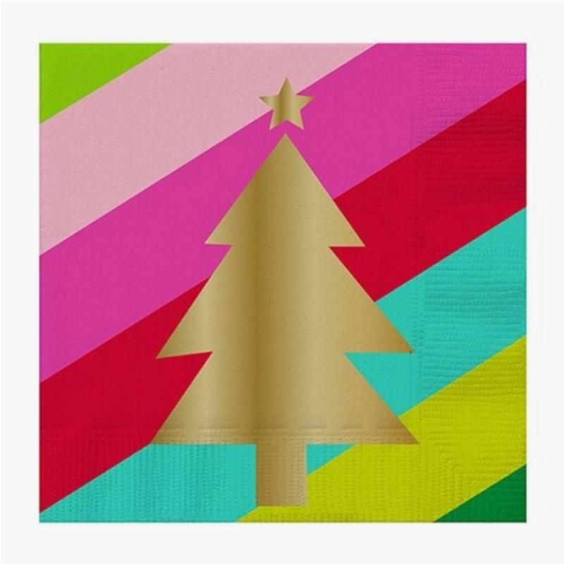 20 ct Gold Xmas Tree napkins