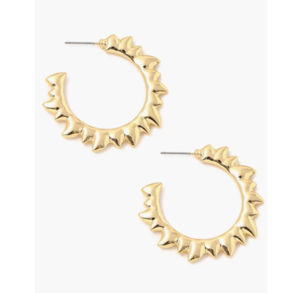 Gold Sun Ray Hoop Earrings
