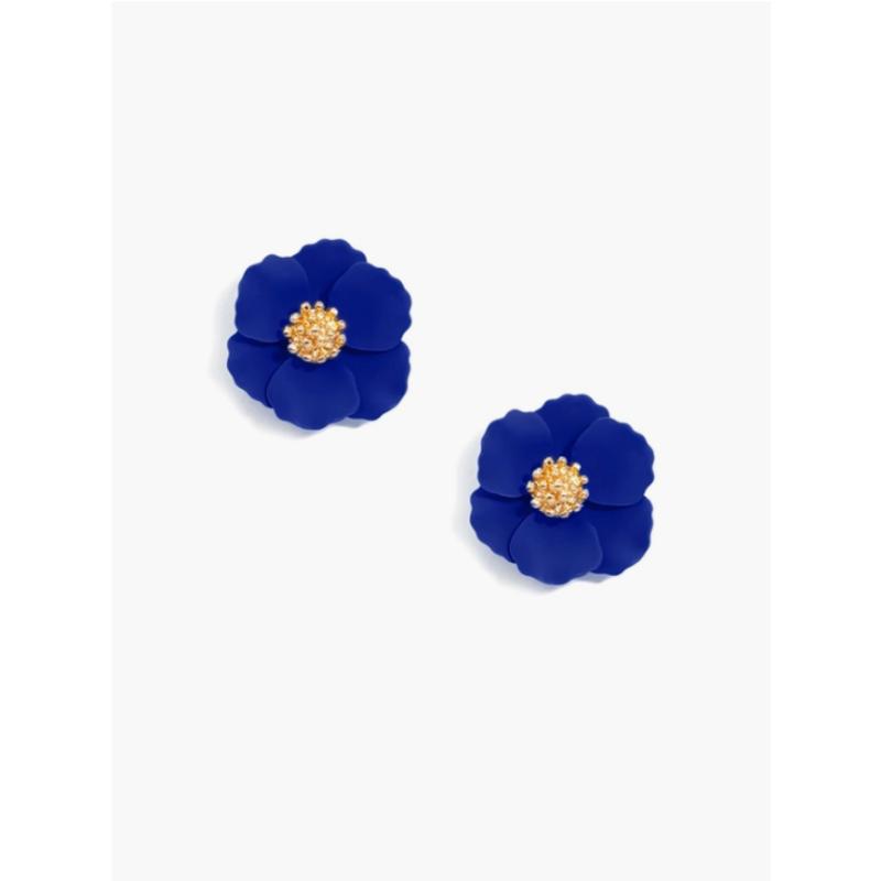 Cobalt Mini Hand Painted Floral Stud