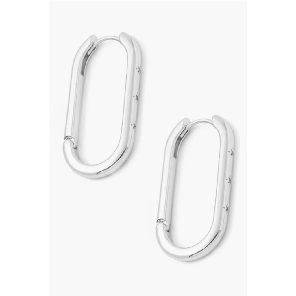 Silver Oval Huggie Hoops