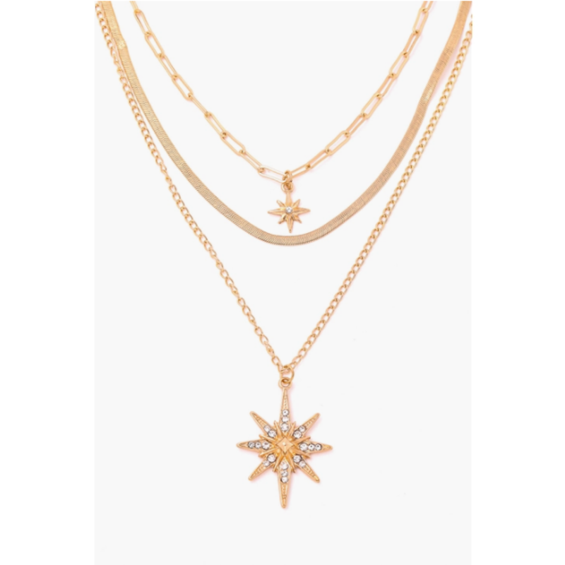 North Star Pendant Layered Necklace