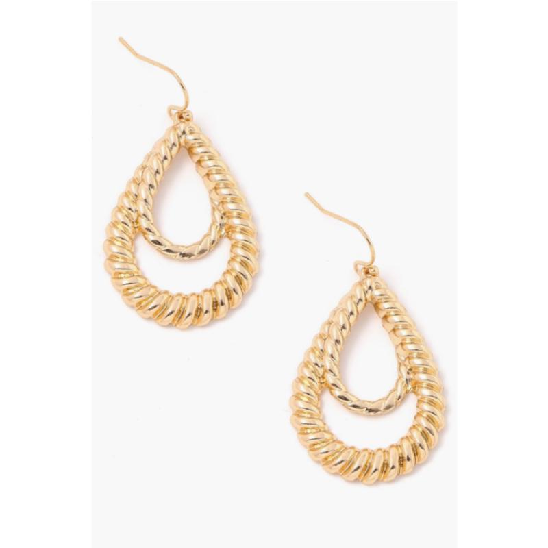 Metallic Teardrop Twist Earrings