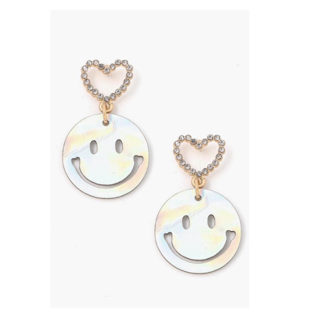 Heart Smiley Face Drop Earrings