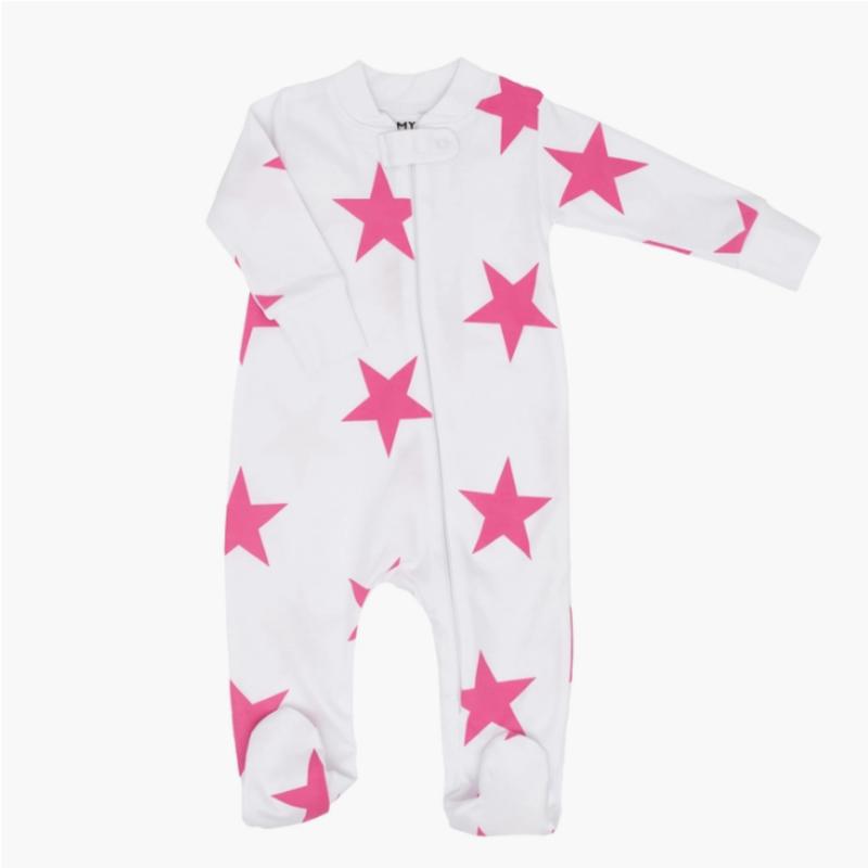 6M Pink Bold Star Zipper Romper