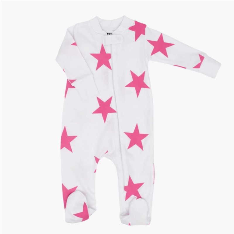 12m Pink Bold Star Zipper Romper