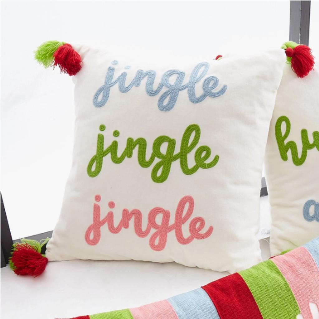 Jingle Jingle Jingle Crewel Tassel Pillow