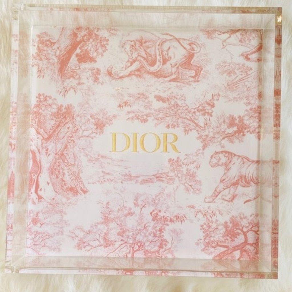 6x6 Pink Dior Toile De Jouy tray