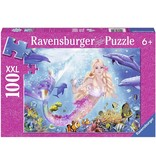 RAVENSBURGER Mermaid & Dolphins 100 pc Glitter Puzzle
