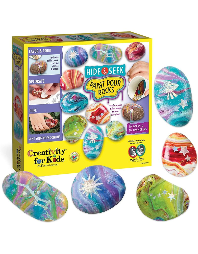 CREATIVITY FOR KIDS PAINT POUR ROCKS