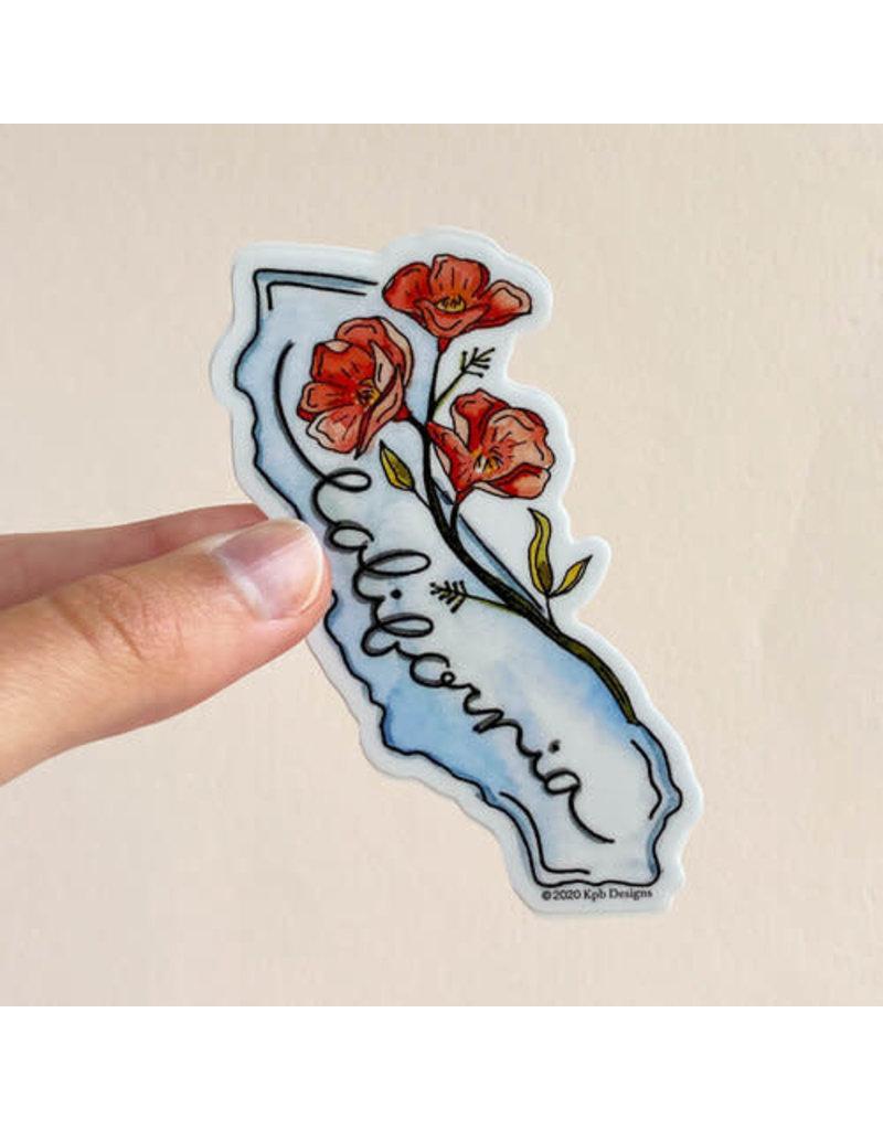 KPB DESIGNS STICKERS CALIFORNIA FLOWER STICKER