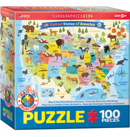 EUROGRAPHICS Illustrated Map of the USA 100PC