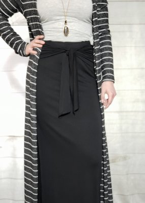 Tie Front Jersey Midi Skirt