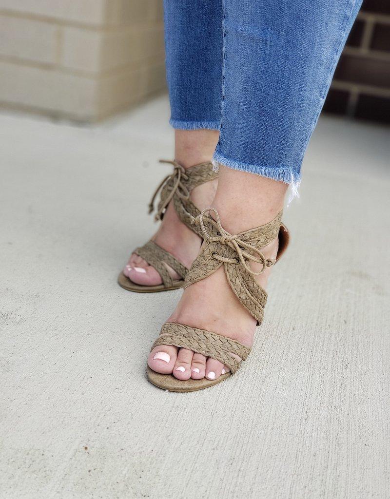 Braided Lace Up Block Heel