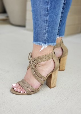 Braided Lace Up Block Heel