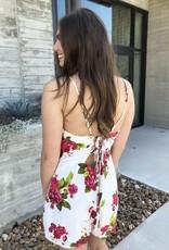 White Floral Tie-Back Romper