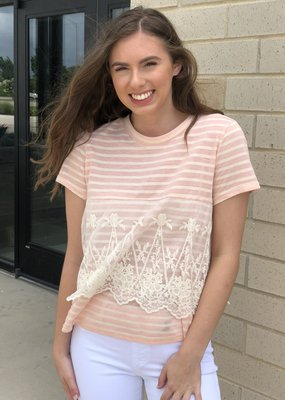 Striped Lace-Overlay Tee