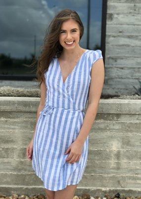 Stripe Cap-Sleeved Wrap Dress