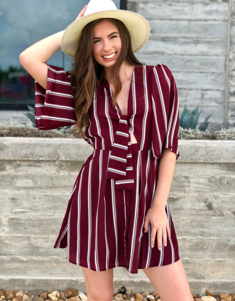 Maroon Striped Tie Dress