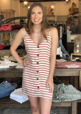 Striped Button Up Mini Dress