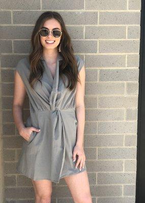 Knot Front Sage Romper Dress