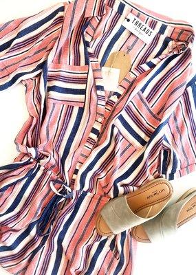 Multi-Stripe Linen Button Romper