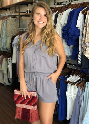 Collared Button Up Romper with Tie Waist