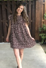 Maroon Leopard Babydoll Dress