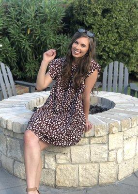 Maroon Leopard Babydoll Dress