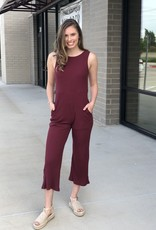 Ribbed Open Back Burgundy Jumpsuit