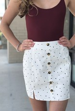 Polka Dot Button Up Mini Skirt