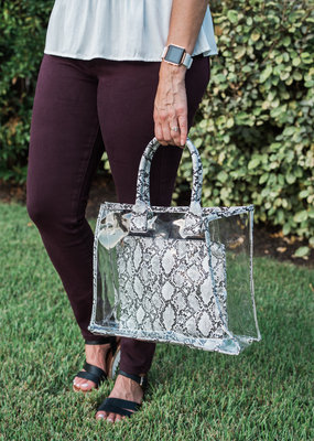 Clear and Snake Tote