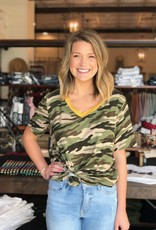 Color-Lined Camo Top