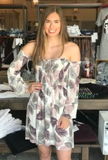 Lace Up Palm Print OTS Dress