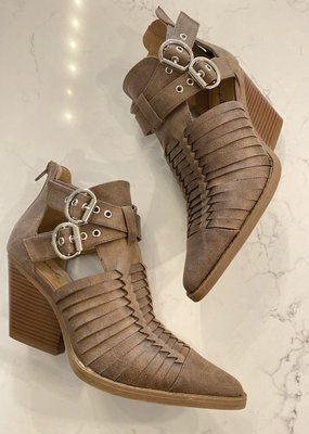 Woven Booties With Buckle Detail