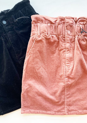 Corduroy Paper Bag Mini Skirt