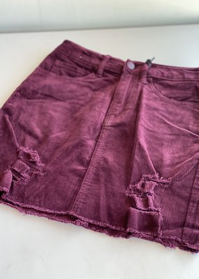 Distressed Corduroy Mini Skirt