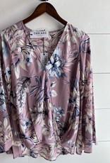 Floral Long Sleeve Surplice Blouse